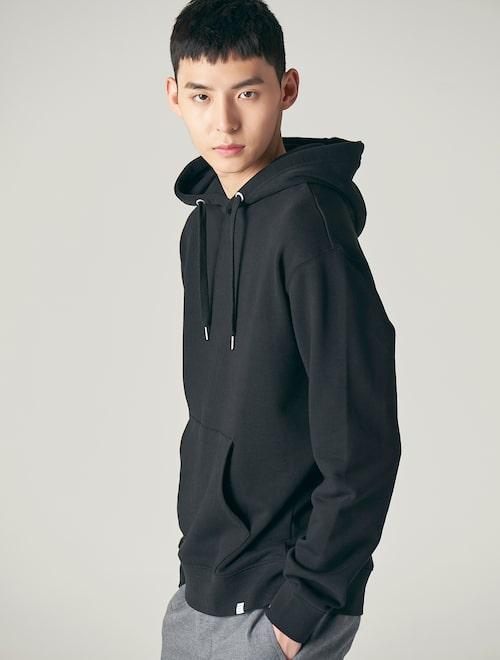 666bb79f 18SS [LAB8] Casual Loose Fit Hood Sweatshirt - Black