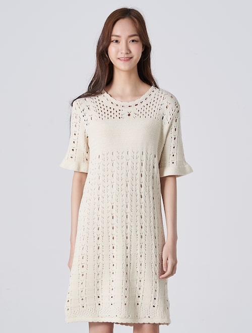 3950e9d39 Punching Bell Sleeve Knit Midi Dress - Beige,8seconds ...