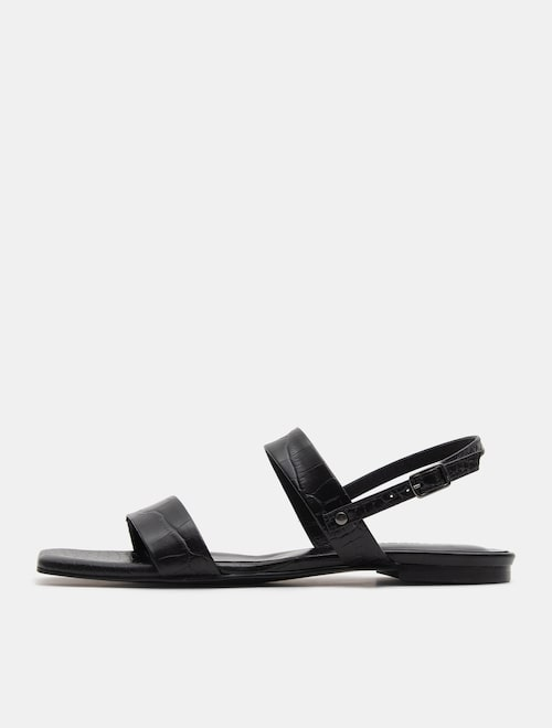 1bcb0f2618 19SS Beanpole Ladies [시즌오프] Pattern Leather Flat Sandal - Black Discount  price USD 203.40 Sale price USD 322.85 Discount rate37%