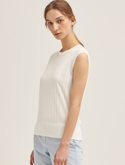 504c46b24d3f7d Perforated Striped Sleeveless Knit - Ivory,Beanpole Ladies ...