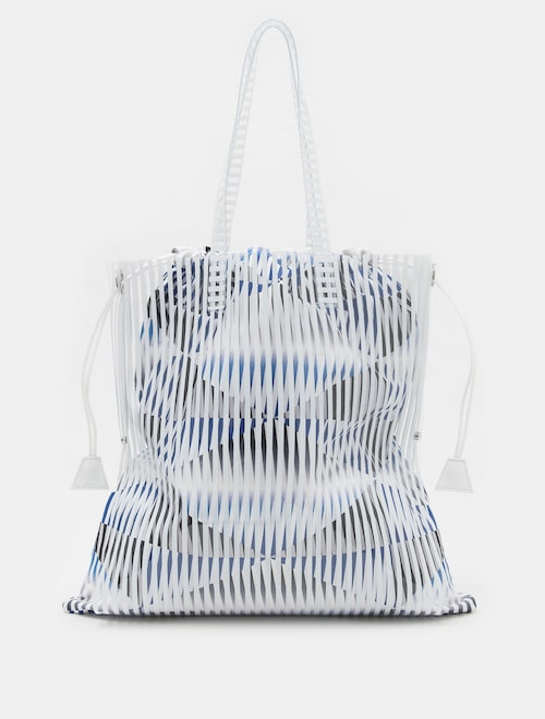 PLEATS PLEASE ISSEY MIYAKE   PF83D3E031. 18SS WHITE MOIRE BAG LARGE c553709203137