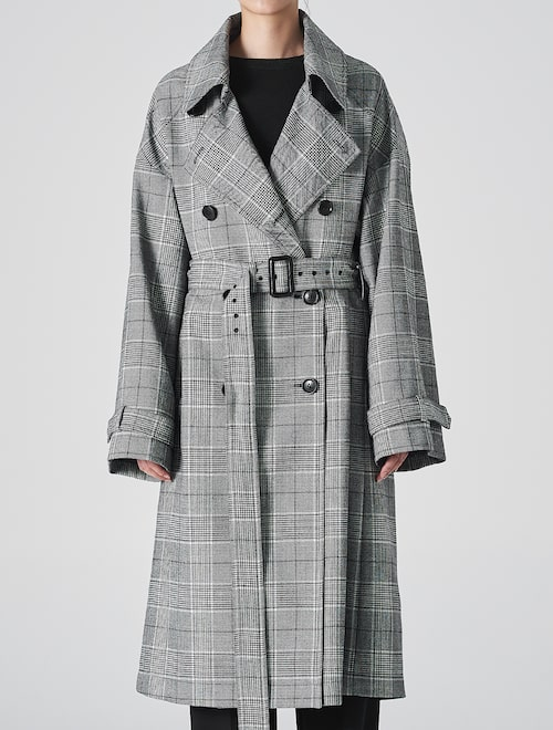 Glen Check Trench Coat – Black (Women)
