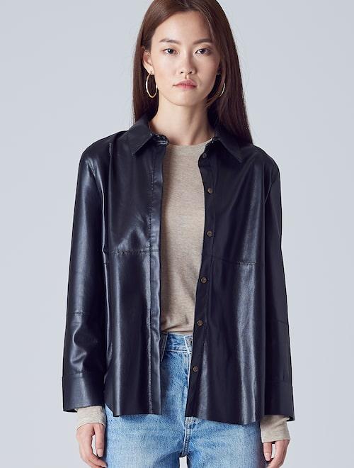 88c22f2c0e916d Nanushka-Naum Vegan leather shirt – Black (Women)│Samsung C&T ...