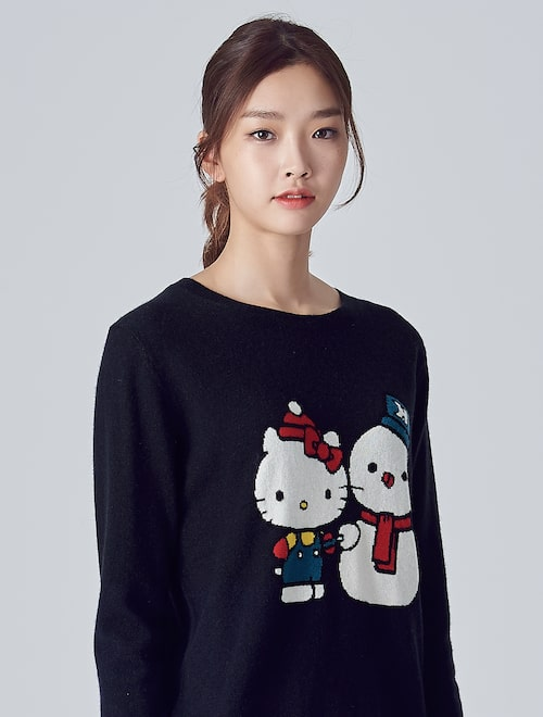 55653a474 Chinti & Parker-[MEETS HELLO KITTY] Kitty Knit Pullover - Navy ...