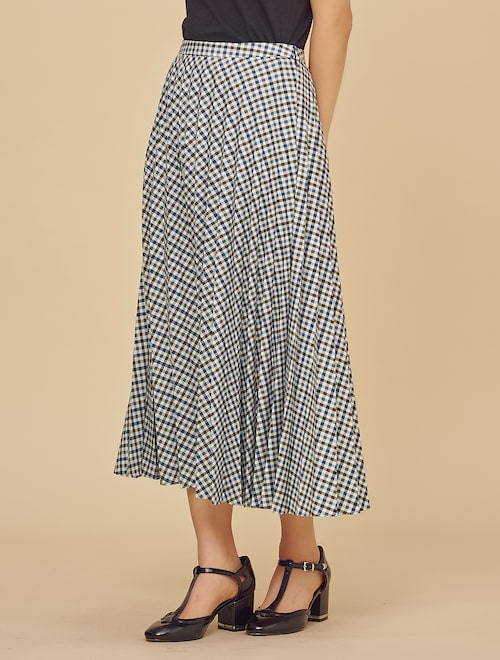 6d67454d4bac Cotton Plaid Pleats Long Skirt - Blue (Women),BEAKER ...