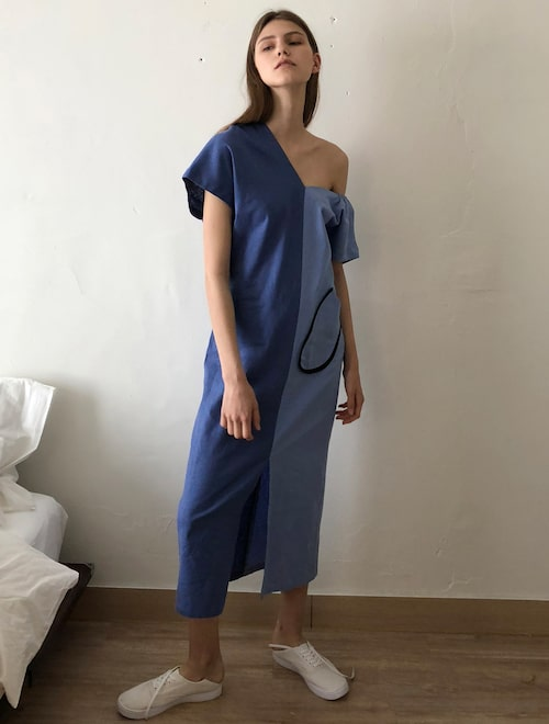 19655f950 Big Pocket Unbalanced Linen Dress - Blue,EcommaE