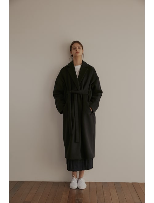 Grid Seoul Wool Robe Coat With Belt Navy Samsung C T Online Mall Ssf Shop