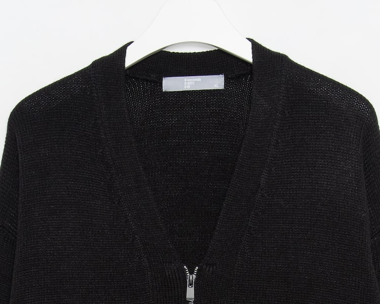 에잇세컨즈(8SECONDS) 블랙 집업 브이넥 카디건 (219Y5ABY65)