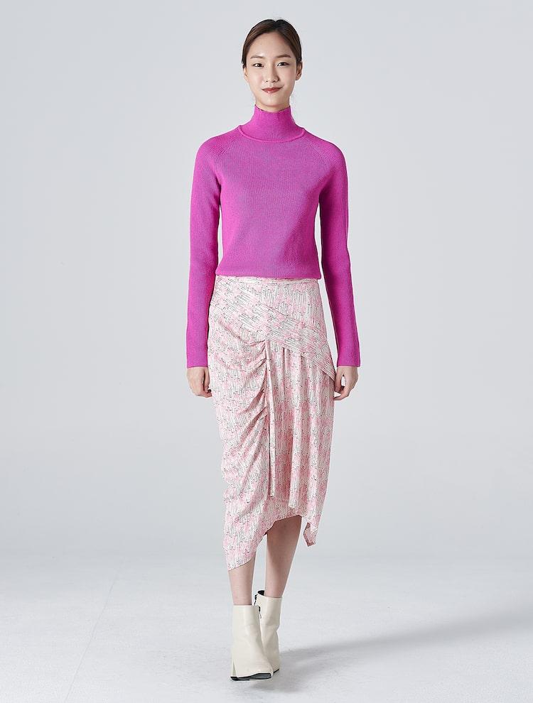 에잇세컨즈(8SECONDS) 핑크 패턴 언밸런스 미디 스커트 (120127CY2X)