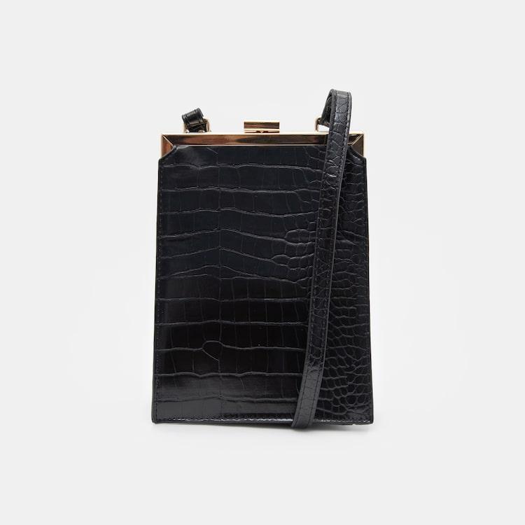 에잇세컨즈(8SECONDS) 블랙 와니 스퀘어 코인 숄더백 (1908D3WYA5)