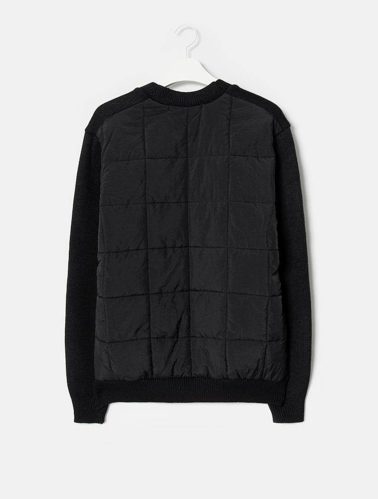 에잇세컨즈(8SECONDS) 블랙 퀼팅 배색 니트 카디건 (260Y5AEY25)