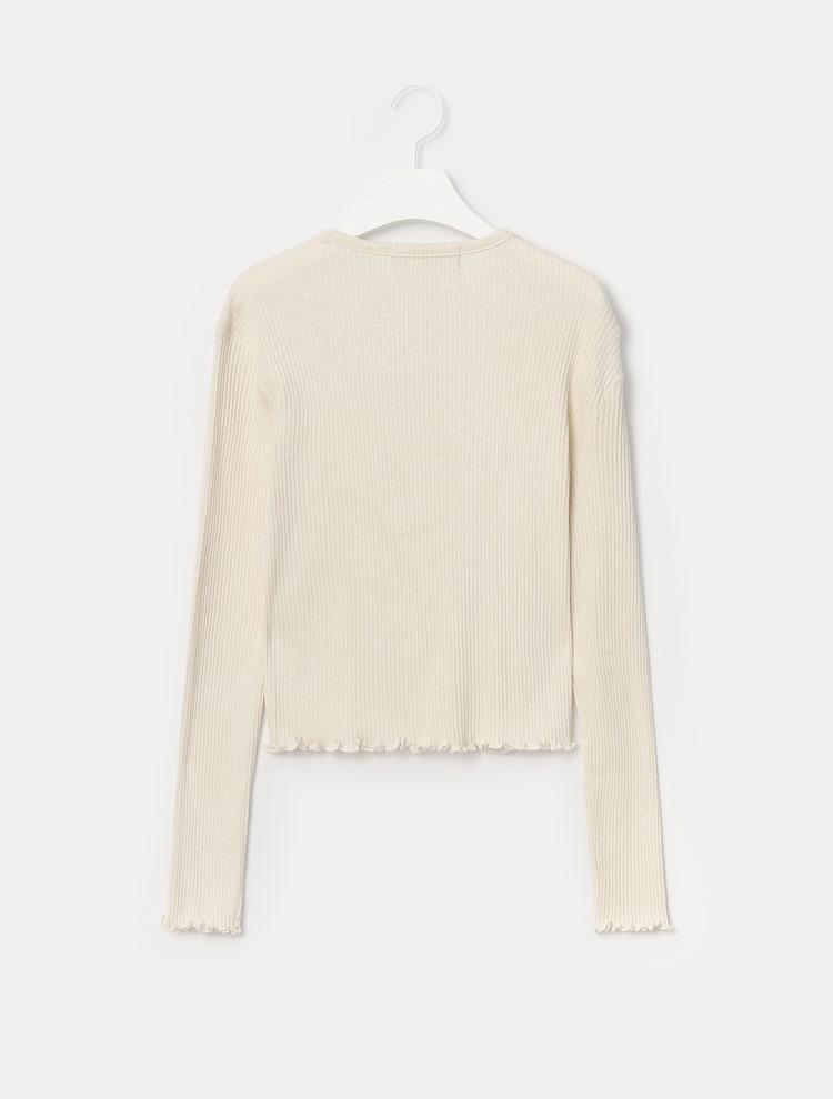 에잇세컨즈(8SECONDS) 아이보리 프릴 리브 카디건형 티셔츠 (321241EY30)