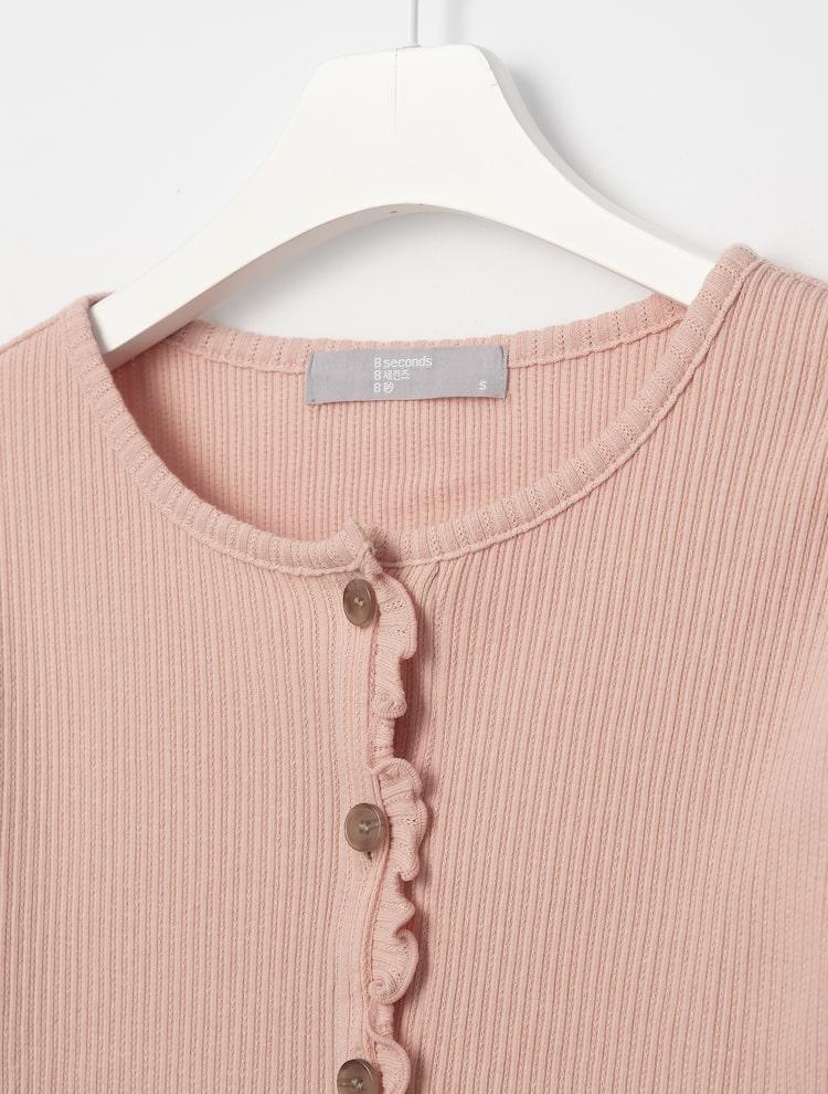에잇세컨즈(8SECONDS) 핑크 프릴 리브 카디건형 티셔츠 (321241EY3X)