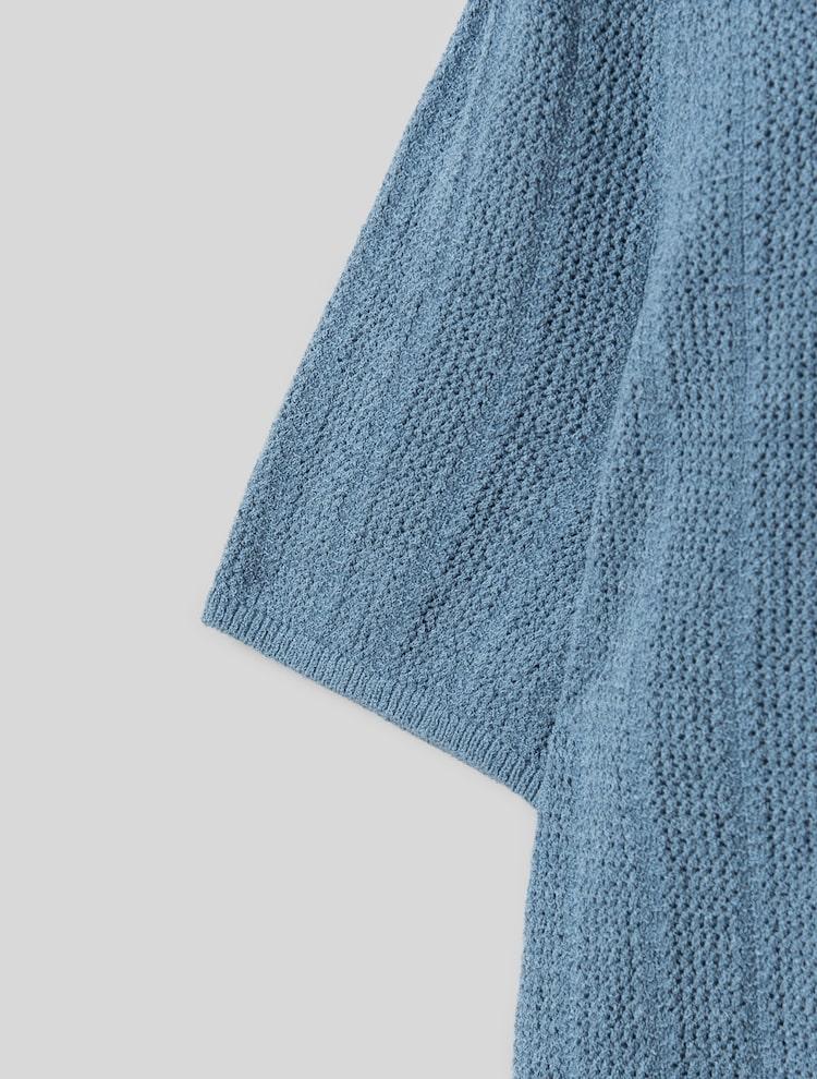 에잇세컨즈(8SECONDS) 스카이 블루 스카시 어깨 셔링 니트 (321551LY8Q)