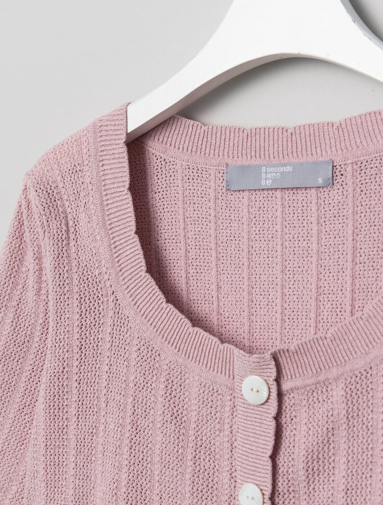 에잇세컨즈(8SECONDS) 핑크 스카시 어깨 셔링 니트 (321551LY8X)