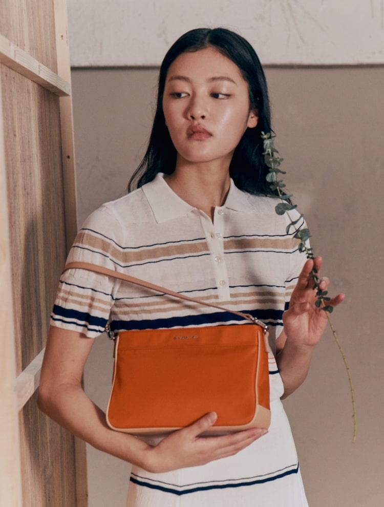 빈폴 액세서리(BEANPOLE ACCESSORY) 여성 오렌지 데일리 폴 미니 숄더백 (BE02D3M328)