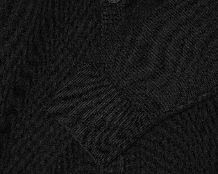 빈폴 멘(BEANPOLE MEN) 블랙 울 캐시미어 레더 패치 카디건 (BC075AA055)
