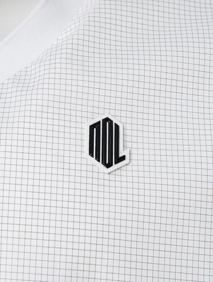빈폴골프(BEANPOLE GOLF) [NDL라인] 남성 화이트 그리드 체크 아노락 티셔츠 (BJ1841M431)