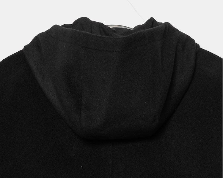 엠비오(MVIO) 블랙 캐시미어 혼방 세미오버 후드 코트