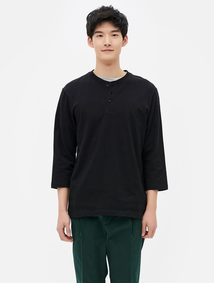 8seconds 3 4 sleeved henley neck t shirt black for 3 4 henley shirt