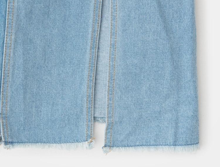 에잇세컨즈(8SECONDS) 블루 톤온톤 배색 슬릿 데님 롱 스커트 (358427WP5P)