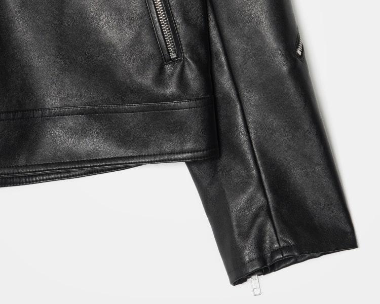 에잇세컨즈(8SECONDS) 블랙 베이직 집업 페이크 레더 재킷 (21883ZWY35)