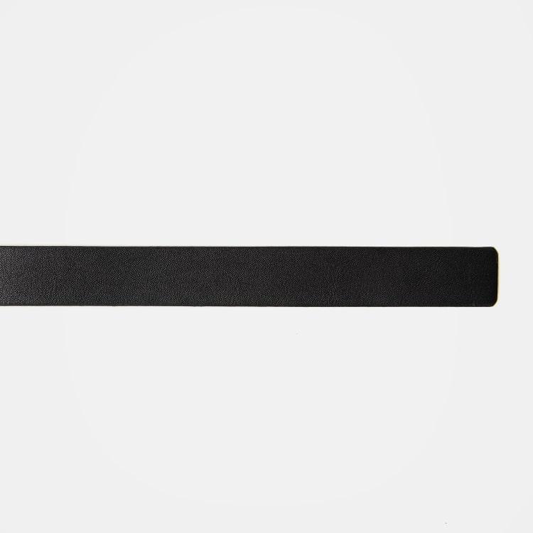 에잇세컨즈(8SECONDS) 블랙 미니멀 페이크 레더 슬림 벨트 (19918OWY25)