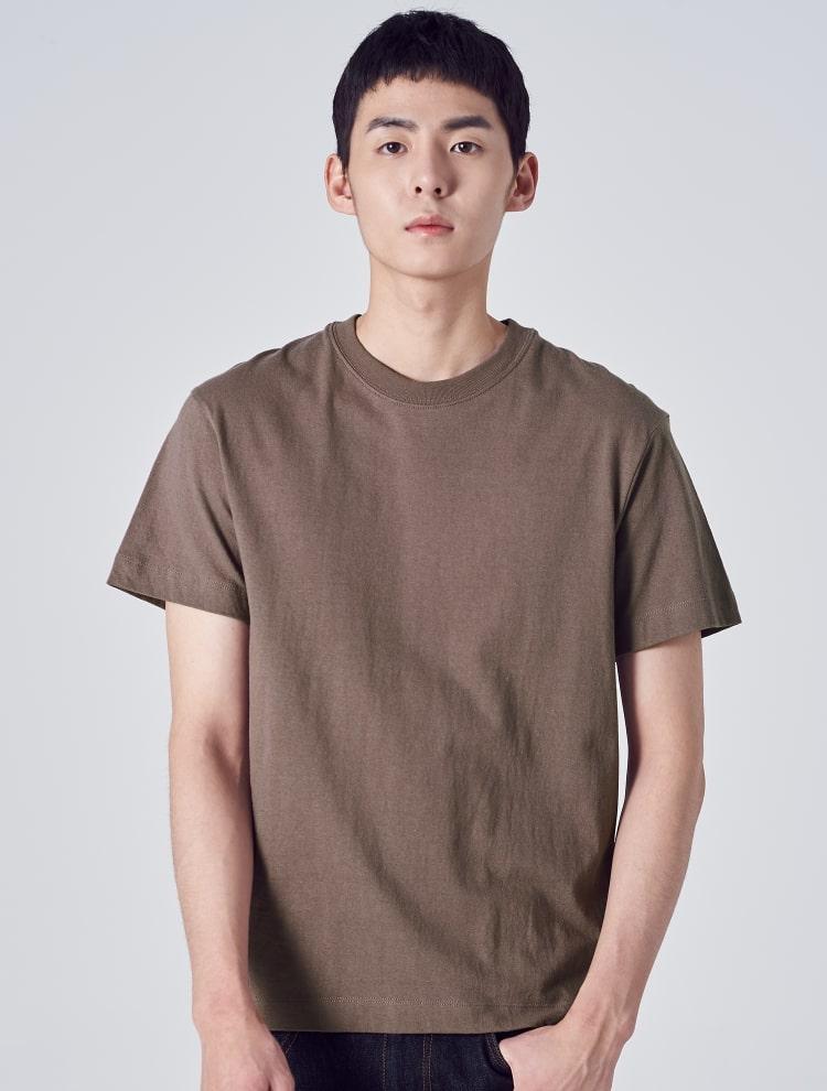 에잇세컨즈(8SECONDS) [LAB8] 그린 솔리드 라벨링 티셔츠 (459142GL3M)