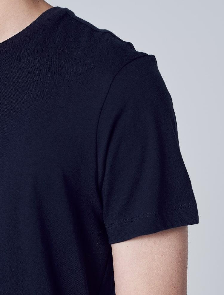 에잇세컨즈(8SECONDS) 네이비 코튼 라운드넥 반소매 티셔츠 (459142GY6R)