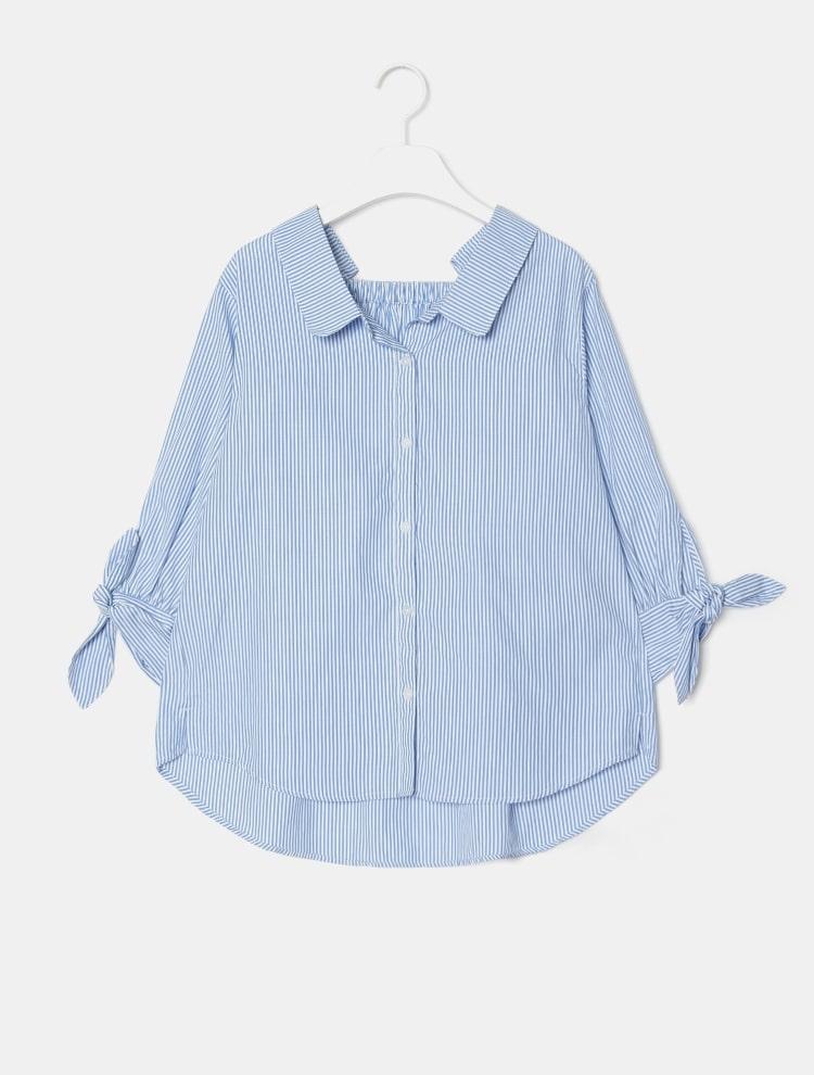 에잇세컨즈(8SECONDS) 스카이 블루 스트라이프 백 스퀘어 밴딩 셔츠 (119364CY6Q)