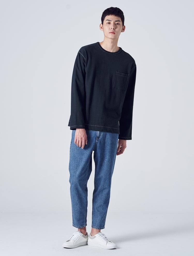에잇세컨즈(8SECONDS) 네이비 코튼 스티치 포켓 티셔츠 (269141DY4R)