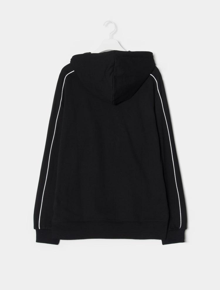 에잇세컨즈(8SECONDS) 블랙 파이핑 포인트 후드 티셔츠 (269141CY75)