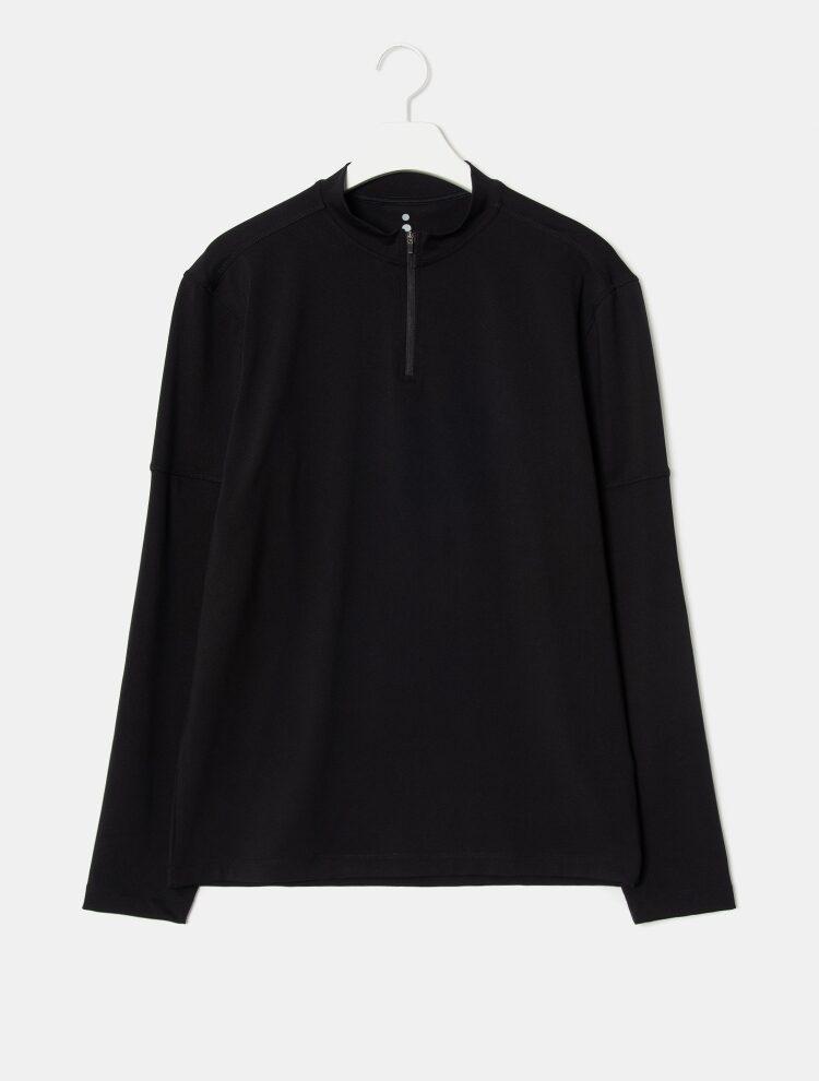에잇세컨즈(8SECONDS) [ACTIVE8] 블랙 하프 집업 티셔츠 (429241FA25)