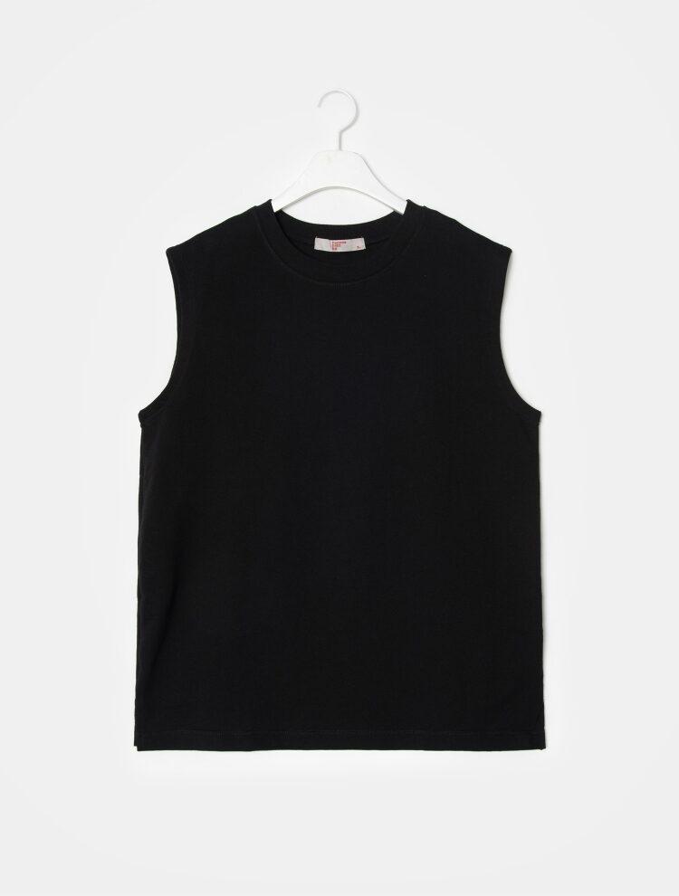 에잇세컨즈(8SECONDS) 블랙 코튼 솔리드 슬리브리스 티셔츠 (269442C325)