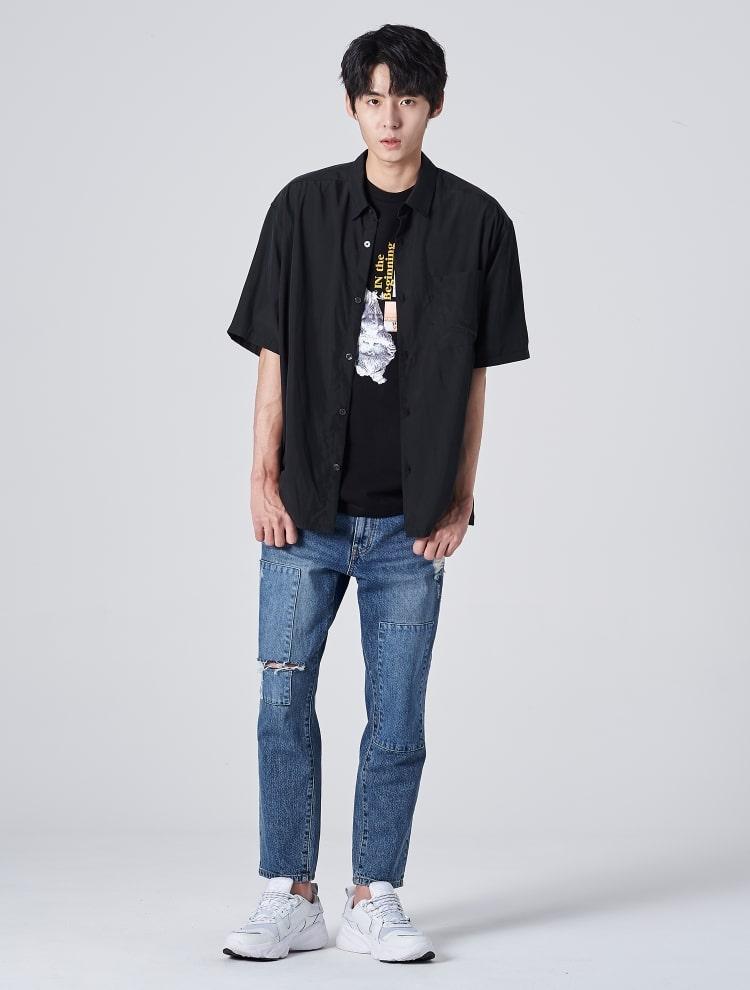 에잇세컨즈(8SECONDS) 브라운 모달 포켓 슬릿 반소매 셔츠 (269765DY2D)