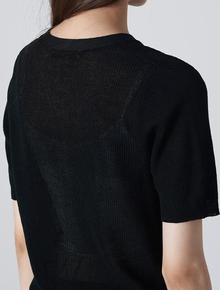 에잇세컨즈(8SECONDS) 블랙 솔리드 브이넥 반소매 쇼트 카디건 (32975ALYB5)