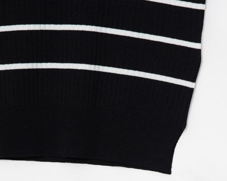에잇세컨즈(8SECONDS) 블랙 베이직 스트라이프 슬리브리스 니트 (329751LYC5)