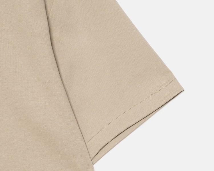 에잇세컨즈(8SECONDS) 베이지 솔리드 오픈 칼라 반소매 티셔츠 (429742BY1A)