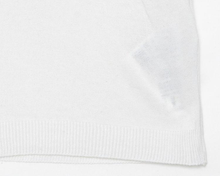 에잇세컨즈(8SECONDS) 아이보리 배색 레터링 반소매 니트 (359751EB30)