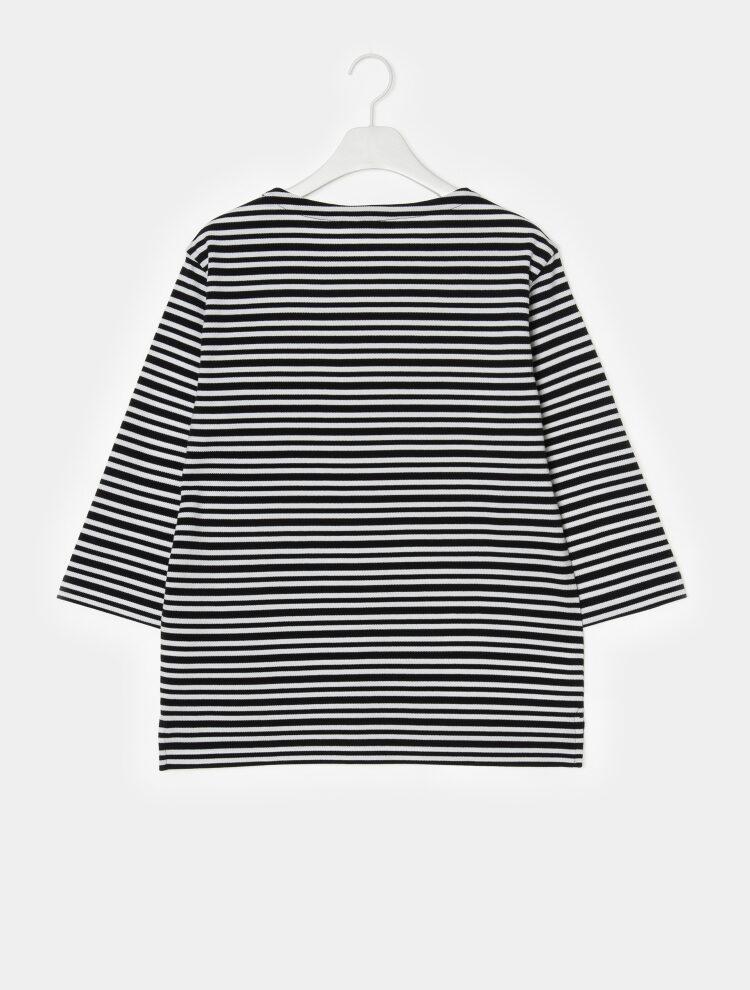 빈폴 멘(BEANPOLE MEN) Unisex 블랙 7부 보더 스트라이프 라운드넥 티셔츠 (BC9141N035)
