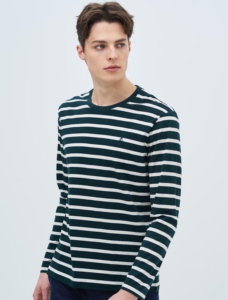 빈폴 멘(BEANPOLE MEN) 네이비 스트라이프 라운드 티셔츠 (BC9141A13R)