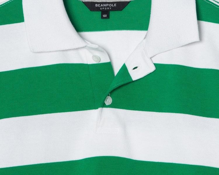 빈폴 스포츠(BEANPOLE SPORT) Unisex 그린 오버핏 스트라이프 럭비 반팔 티셔츠 (BO9442S12M)