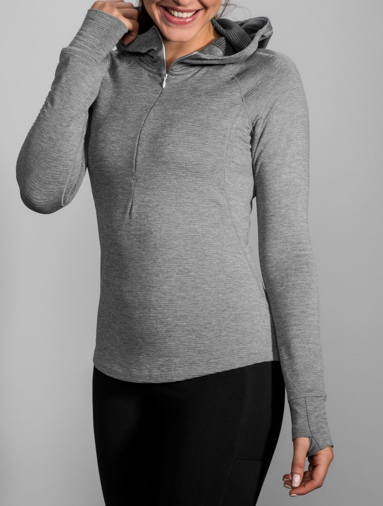 브룩스(BROOKS) 여성 너치 써멀 기모후디 라이트그레이 (BX8X41W322)