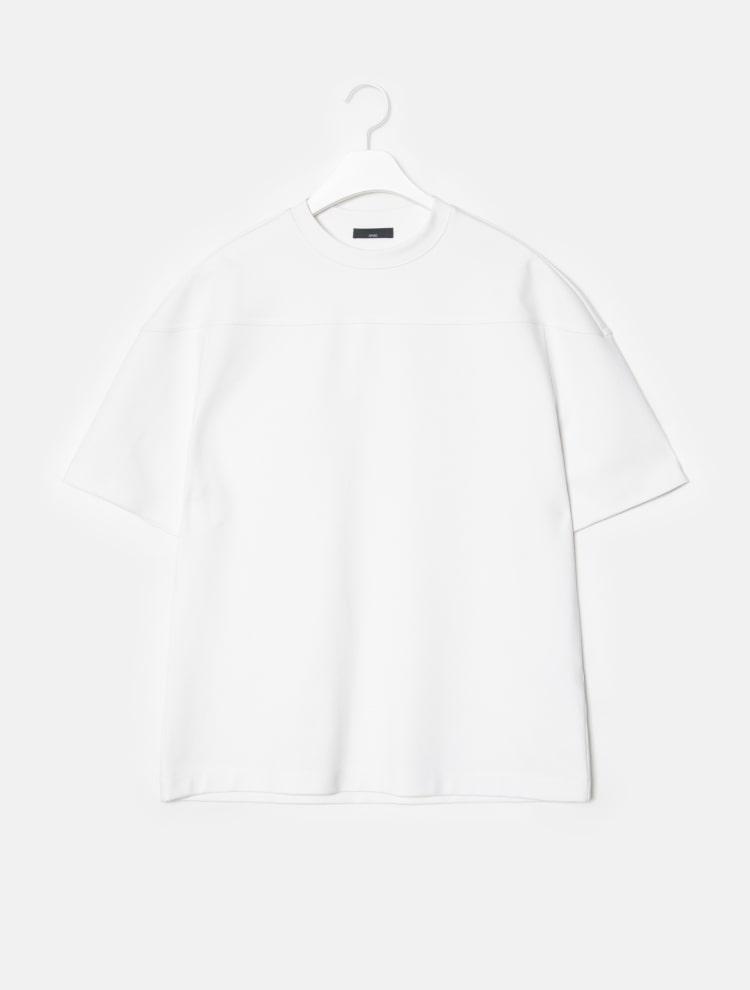 엠비오(MVIO) 화이트 절개 라운드 세미오버 티셔츠