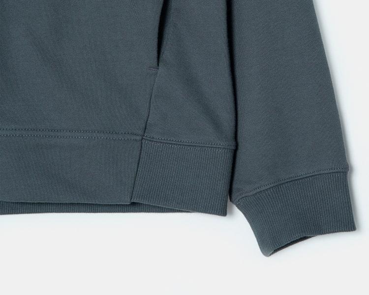 엠비오(MVIO) 그레이 스냅 버튼 후드 티셔츠