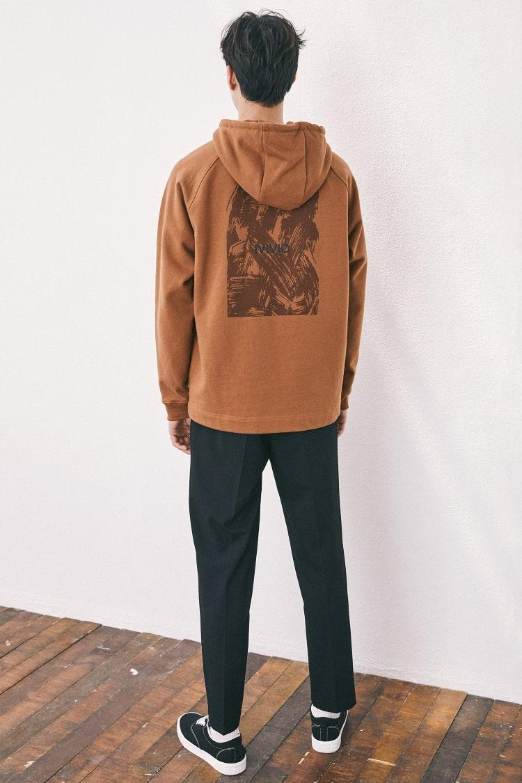 엠비오(MVIO) 베이지 로고 프린트 기모후드 티셔츠