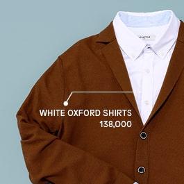 화이트 내츄럴 스트레치 옥스포드 셔츠