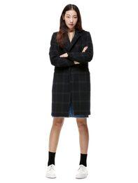 [HAND MADE] 윈도우체크 히든버튼 슬림핏 코트