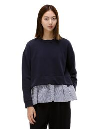 스트라이프 셔링패치 스웨트 티셔츠