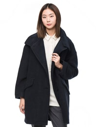 울저지 하이넥 오버핏 코트